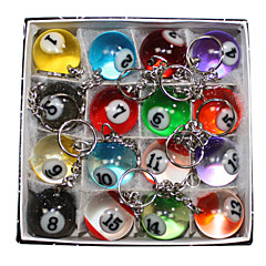 16 x niedlichen multicolor Simulation Billard Metall-Schlüsselanhänger Schlüsselanhänger