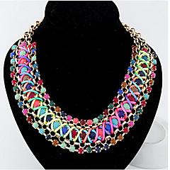 お買い得  ネックレス-女性用 クリスタル ステートメントネックレス - レザー, イミテーションダイヤモンド 虹色 ネックレス 用途 パーティー