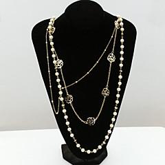 Damskie Oświadczenie Naszyjniki Pearl Strands Kryształ Perłowy Kryształ górski sztuczna Diament 18K złoty Austria Crystal Modny Europejski