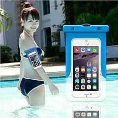 Недорогие Кейсы для iPhone 6-Кейс для Назначение iPhone 6s Plus iPhone 6 Plus универсальный Водонепроницаемый с окошком Мешочек Сплошной цвет Мягкий ПК для