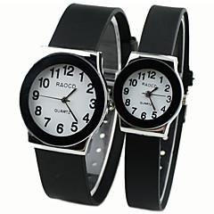 abordables Novedades-Hombre Mujer Pareja Reloj Deportivo Reloj de Moda Reloj de Vestir Cuarzo Gran venta Caucho Banda Analógico Encanto Negro - Blanco Negro