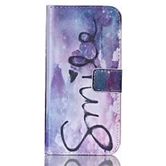 For Samsung Galaxy etui Kortholder Pung Med stativ Flip Etui Heldækkende Etui Ord / sætning Kunstlæder for SamsungS6 edge S6 S5 Mini S5