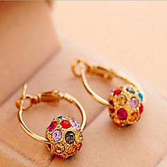 billige Øreringe-Dame Store øreringe Boheme Stil Mode kostume smykker Perle Kvadratisk Zirconium Rhinsten Guldbelagt Legering Cirkelformet Smykker Til