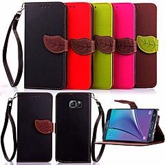 Недорогие Чехлы и кейсы для Galaxy Note 5-Кейс для Назначение SSamsung Galaxy Samsung Galaxy Note Кошелек / Бумажник для карт / со стендом Чехол Однотонный Кожа PU для Note 5 / Note 4 / Note 3