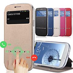 voordelige Galaxy S3 Hoesjes / covers-hoesje Voor Samsung Galaxy Samsung Galaxy hoesje met standaard met venster Volledig hoesje Effen Kleur PU-nahka voor S3