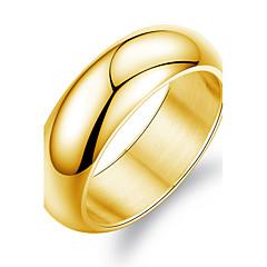preiswerte Ringe-Herrn Bandring - Titanstahl, vergoldet Modisch 7 / 8 / 9 Weiß / Golden Für Hochzeit / Party / Alltag