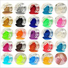 voordelige -24pcs gemengde kleuren kleine delicate nail art glitter poeder nail art foliestrook poeder arylic poeder voor nagel decoraties