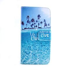 voordelige Galaxy S4 Mini Hoesjes / covers-hoesje Voor Samsung Galaxy Samsung Galaxy hoesje Kaarthouder Portemonnee met standaard Flip Volledig hoesje Landschap PU-nahka voor S6