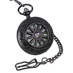preiswerte Herrenuhren-Herren Taschenuhr Mechanische Uhr Mechanischer Handaufzug Transparentes Ziffernblatt Legierung Band Luxuriös Schwarz