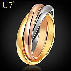 お買い得  指輪-女性用 ステンレス鋼 / ゴールドメッキ / ローズゴールドめっき 指輪 - ヴィンテージ / パーティー / オフィス 虹色 リング 用途 日常