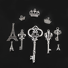 Beadia Metal Eiffel Tower & Key & Crown Charm Pendants Antique Silver Plated DIY Jewelry Accessories