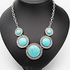 preiswerte Halsketten-Türkis Statement Ketten / Vintage Halskette / Anhänger  -  Diamantimitate, Türkis Luxus Silber Modische Halsketten Für Hochzeit, Party, Alltag