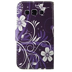 purpurowe kwiaty pu skórzane etui całe ciało do Samsung Galaxy Grand / Grand neo i9060 / rdzeń główny / Grand prime / rdzenia oraz