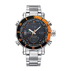 preiswerte Tolle Angebote auf Uhren-WEIDE Herrn Armbanduhr Alarm / Kalender / Chronograph Edelstahl Band Luxus Silber / Wasserdicht / LCD / Duale Zeitzonen
