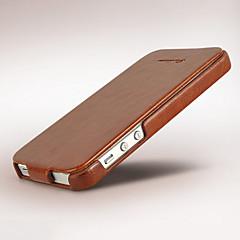 Недорогие Кейсы для iPhone 5-Кейс для Назначение iPhone 5 / Apple Кейс для iPhone 5 Флип Чехол Однотонный Твердый Кожа PU для iPhone SE / 5s / iPhone 5