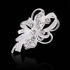 Mulheres Broche Floral Fashion Cristal Imitações de Diamante Flor Jóias Para Casamento Festa