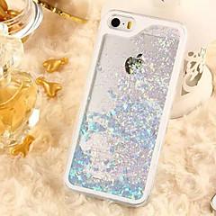 Для Кейс для iPhone 5 Движущаяся жидкость / Прозрачный Кейс для Задняя крышка Кейс для Сияние и блеск Твердый PC iPhone SE/5s/5
