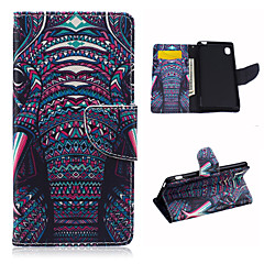 billige Etuier til Sony-For Sony etui Pung / Kortholder / Med stativ / Flip Etui Heldækkende Etui Elefant Hårdt Kunstlæder for Sony Sony Xperia M4 Aqua