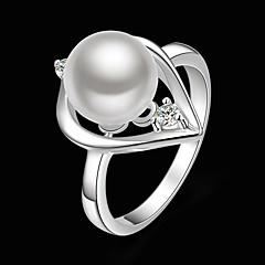 preiswerte Ringe-Damen Statement-Ring - Perle, Kubikzirkonia, versilbert Herz Modisch Eine Größe Weiß Für Party / Diamantimitate