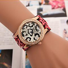 お買い得  レディース腕時計-女性用 ファッションウォッチ クォーツ 模造ダイヤモンド レザー バンド ハンズ つや消しブラック ブルー / レッド / グリーン - レッド グリーン ブルー