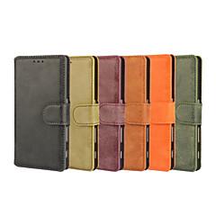 Недорогие Чехлы и кейсы для Sony-Кейс для Назначение Sony Xperia Z5 Compact Sony Кейс для Sony Бумажник для карт Кошелек со стендом Флип Чехол Сплошной цвет Твердый Кожа