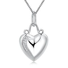Dame Kort halskæde Halskædevedhæng Erklæring Halskæder Hjerteformet Sølv Kærlighed Hjerte Mode Hvid Smykker ForBryllup Fest Daglig