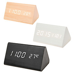 abordables relojes-Reloj despertador Digital Madera LED 1 pcs
