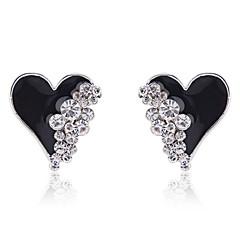 olcso -Beszúrós fülbevalók Szerelem Szív Divat Kristály Arannyal bevont utánzat Diamond Heart Shape Fehér Fekete Ékszerek MertParti Napi