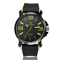 お買い得  メンズ腕時計-V6 男性用 リストウォッチ クォーツ ホット販売 ラバー バンド ハンズ チャーム ブラック - イエロー レッド ブルー 2年 電池寿命 / 三菱LR626