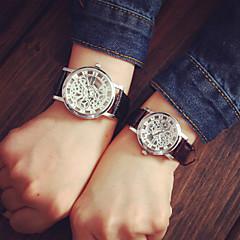 preiswerte Armbanduhren für Paare-Paar Armbanduhr Transparentes Ziffernblatt PU Band Charme / Modisch Schwarz / Braun / Ein Jahr / Tianqiu 377