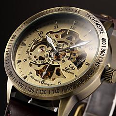 お買い得  大特価腕時計-男性用 リストウォッチ 機械式時計 自動巻き 透かし加工 レザー バンド ハンズ ぜいたく ブラック / ブラウン - ブラック Brown