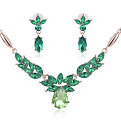 Női Ékszer készlet Strassz Esküvő Parti Kristály Hamis gyémánt 1 Pár fülbevaló Nyakláncok
