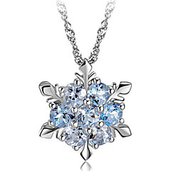 Women's Pendant Necklaces Snowflake Silver Synthetic Gemstones Sterling Silver Crystal Fashion Jewelry For Party Daily Casual