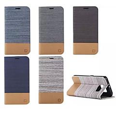 Varten Samsung Galaxy kotelo Korttikotelo / Lomapkko / Tuella / Flip Etui Kokonaan peittävä Etui Linjat / aallot Tekonahka SamsungS6 edge