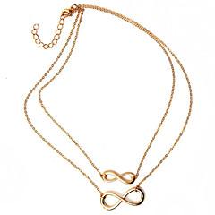 preiswerte Halsketten-Damen Anhängerketten - Unendlichkeit Grundlegend, Doppelschicht Silber, Golden Modische Halsketten Schmuck Für Party, Alltag, Normal