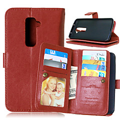 LG G2 PU Leather / TPU Full Body Cases / Cases with Stand / Other Solid Color / Special Design case cover