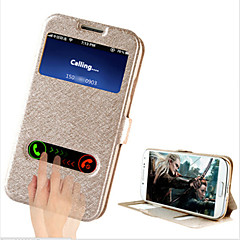 abordables Accesorios de Samsung-Funda Para Samsung Galaxy Funda Samsung Galaxy con Soporte con Ventana Flip Funda de Cuerpo Entero Color sólido Cuero de PU para S4