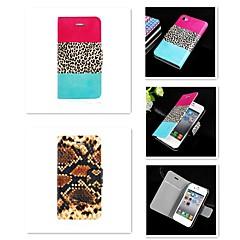 Mert iPhone 5 tok Kártyatartó / Állvánnyal / Flip / Minta Case Teljes védelem Case Leopárd minta Kemény Műbőr iPhone SE/5s/5