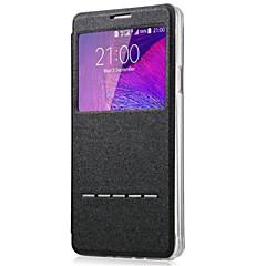Недорогие Чехлы и кейсы для Galaxy Note 5-Кейс для Назначение SSamsung Galaxy Samsung Galaxy Note7 со стендом с окошком Чехол Сплошной цвет Кожа PU для Note 7 Note 5 Note 4 Note 3