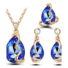 cheap Jewelry Sets-Women's Austria Crystal Jewelry Set Rings Earrings Necklace - Luxury Fashion Drop Yellow Red Blue Pink Light Blue Jewelry Set For