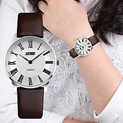 voordelige Horloges voor stelletjes-SKMEI Heren Dames Voor Stel Dress horloge Kwarts Japanse quartz Vrijetijdshorloge Leer Band Zwart Bruin