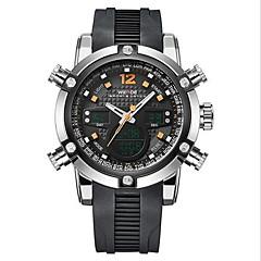 preiswerte Tolle Angebote auf Uhren-WEIDE Herrn Armbanduhr Alarm / Kalender / Chronograph Caucho Band Luxus Schwarz / Edelstahl / Wasserdicht / LCD / Duale Zeitzonen / Zwei jahr