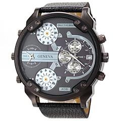 お買い得  大特価腕時計-男性用 軍用腕時計 リストウォッチ クォーツ カレンダー 2タイムゾーン レザー バンド ハンズ ブラック / ブルー / レッド - レッド ブルー ブラックとオレンジ