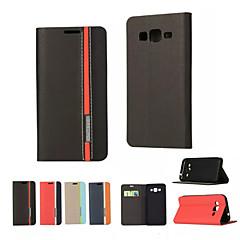 お買い得  Samsung その他の機種用ケース/カバー-ケース 用途 Samsung Galaxy Samsung Galaxy ケース カードホルダー / スタンド付き / フリップ フルボディーケース ソリッド PUレザー のために On 5 / J7 / J5