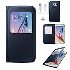 Varten Ikkunalla / AutomAutomaattinen auki/kiinni / Flip Etui Kokonaan peittävä Etui Yksivärinen Kova Tekonahka Samsung S6 edge plus / S6