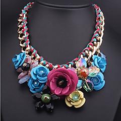 お買い得  ネックレス-女性用 据え付けられた / ビブネックレス ペンダントネックレス / ステートメントネックレス - フラワー ぜいたく グリーン, ピンク, 虹色 ネックレス 用途 パーティー, 誕生日, おめでとう