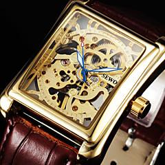 お買い得  メンズ腕時計-男性用 リストウォッチ / 機械式時計 透かし加工 レザー バンド ぜいたく ブラック / ブラウン / 手巻き式