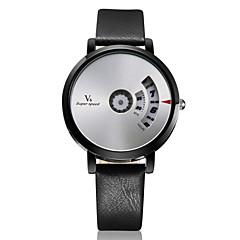 voordelige Bekijk deals-V6 Heren Polshorloge Unieke creatieve horloge Kwarts Leer Band Zilver