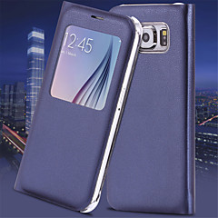 voordelige Galaxy S6 Hoesjes / covers-venster luxe flip lederen case cover met automatische slimme slaap voor Samsung Galaxy S6 / S6 edge plus / S7 / S7 rand