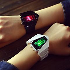 preiswerte Armbanduhren für Paare-Herrn Damen Paar digital Sportuhr LED Silikon Band Charme Silber